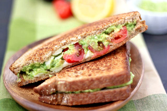 Avocado-White Cheddar-Tomato Grilled Cheese Recipe