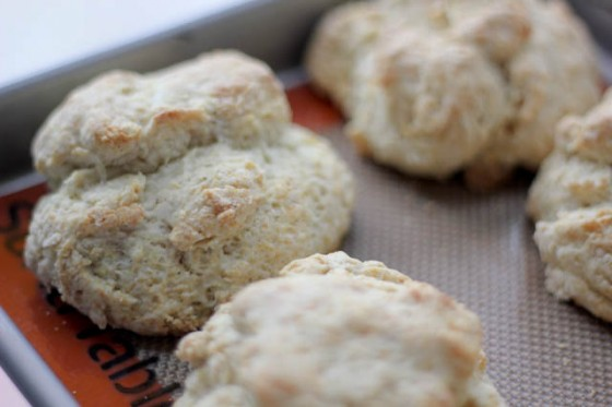 ... gravy smothered on top of crumbly black pepper parmesan biscuits