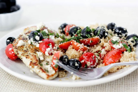 Pan Grilled Chicken with Olives &amp; Tomatoes