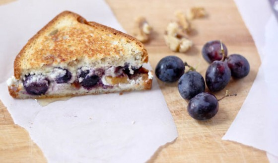 Grape Goat Cheese and Walnut Grilled Cheese Sandwich