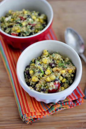 Mexican Quinoa Salad with Creamy Avocado Dressing