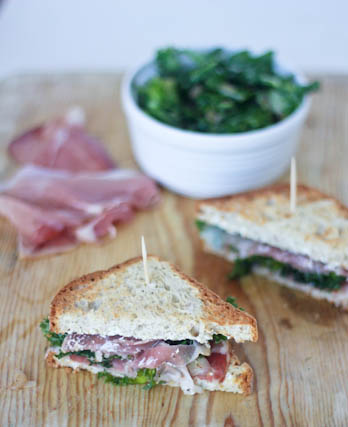 Prosciutto, Kale and Caramelized Shallot Sandwich with Garlic Goat ...