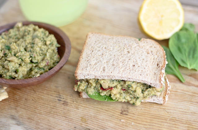 Smashed Chickpea and Pesto Sandwich Recipe