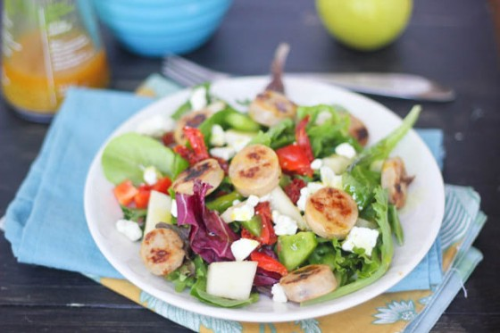 Sweet Apple Chicken Sausage Salad with Pears, Feta & Curry Vinaigrette