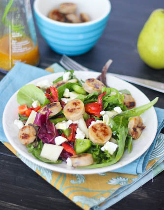 Sweet Apple Chicken Sausage Salad with Pears, Feta &amp; Curry Vinaigrette