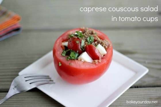 Caprese Couscous Salad in Tomato Cups