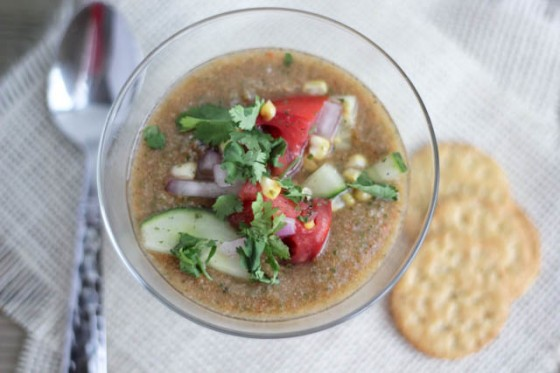 Heirloom Tomato Gazpacho with Roasted Poblano Peppers