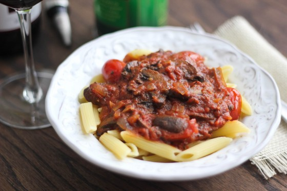 Mushroom Marinara with Penne 