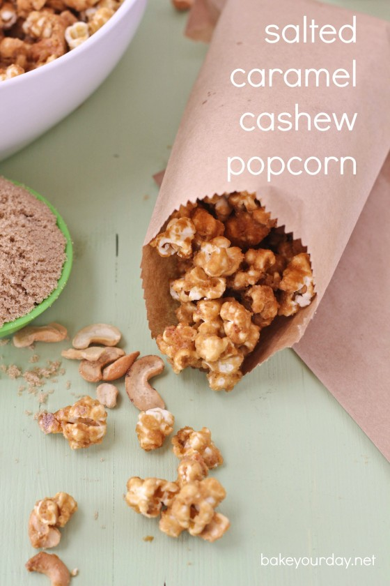Salted Caramel Cashew Popcorn