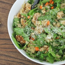 Toasted Walnut Quinoa Spinach Salad