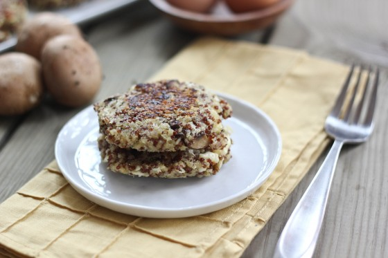 Mushroom &amp; Feta Quinoa Cakes 