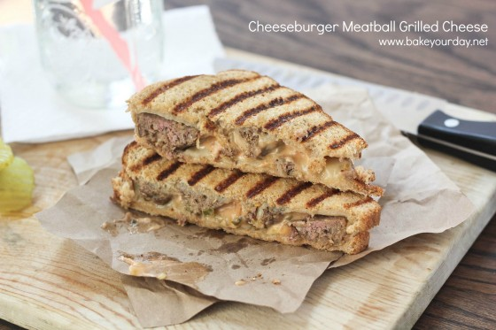 Cheeseburger Meatball Grilled Cheese