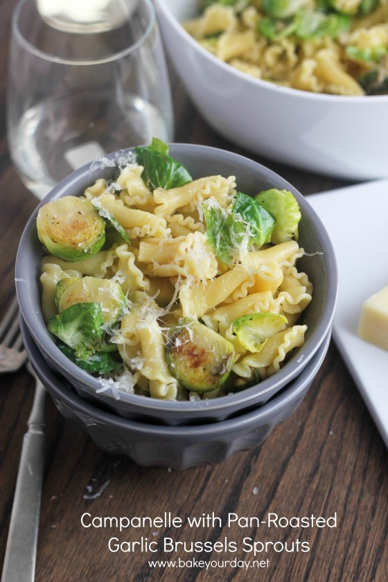 Campanelle with Pan-Roasted Garlic Brussels Sprouts