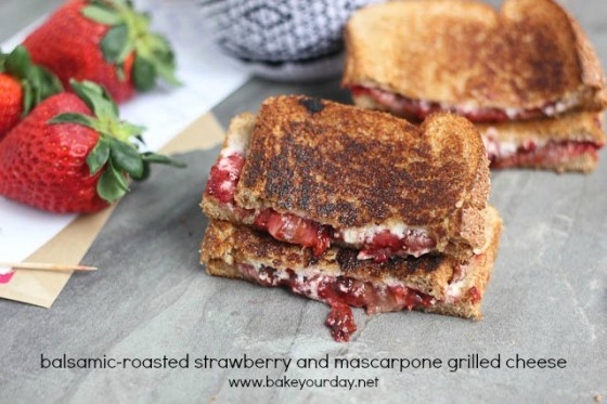 Balsamic Roasted Strawberry Mascarpone Grilled Cheese