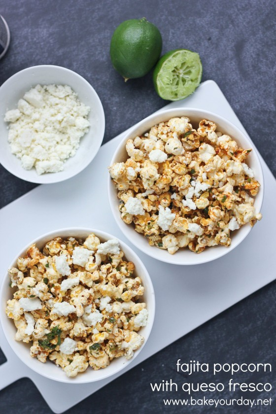 Fajita-Flavored Popcorn with Queso Fresco