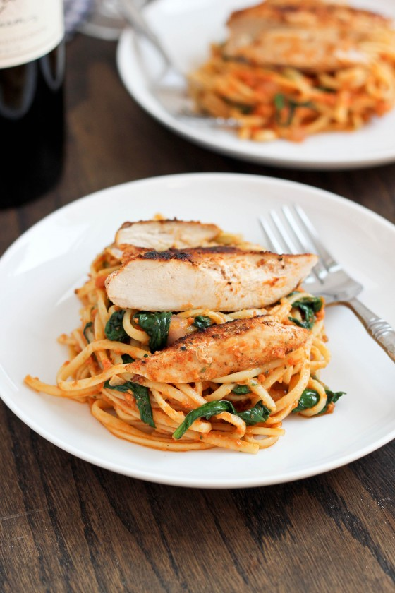 Blackened Chicken with Sun-Dried Tomato Pesto Pasta