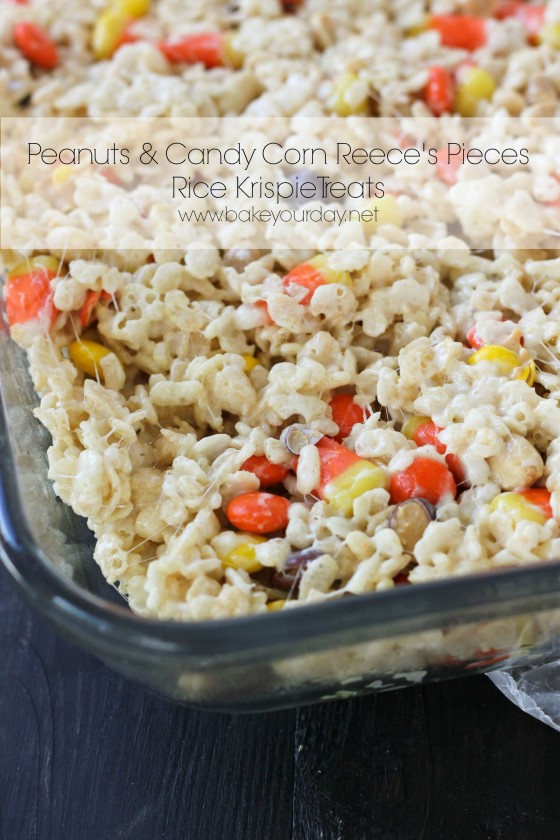 Peanuts & Candy Corn Reece's Pieces Rice Krispie Treats