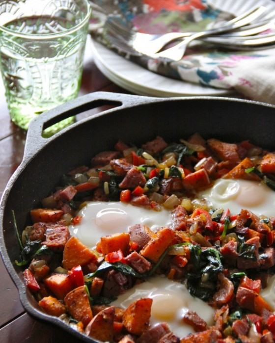 Bacon Salami & Sweet Potato Hash by Climbing Grier Mountain