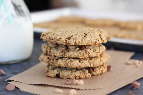 Cinnamon Maple Toffee Monster Cookies from bakeyourday.net
