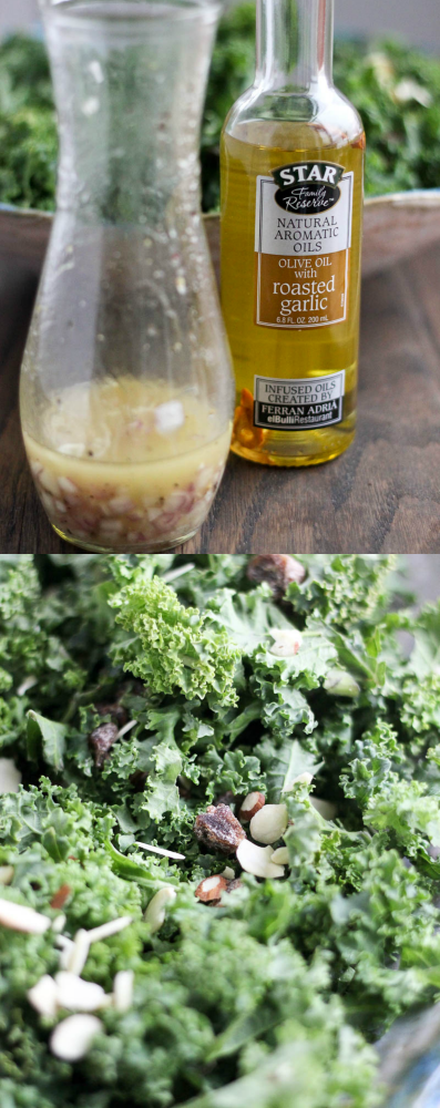 Garlic-Shallot Vinaigrette on Date & Almond Kale Salad