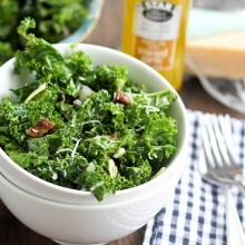 Date & Almond Kale Salad with Garlic-Shallot Vinaigrette