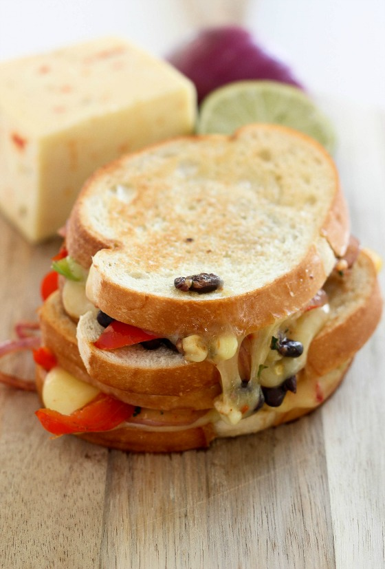 Corn & Black Bean Fajita Grilled Cheese