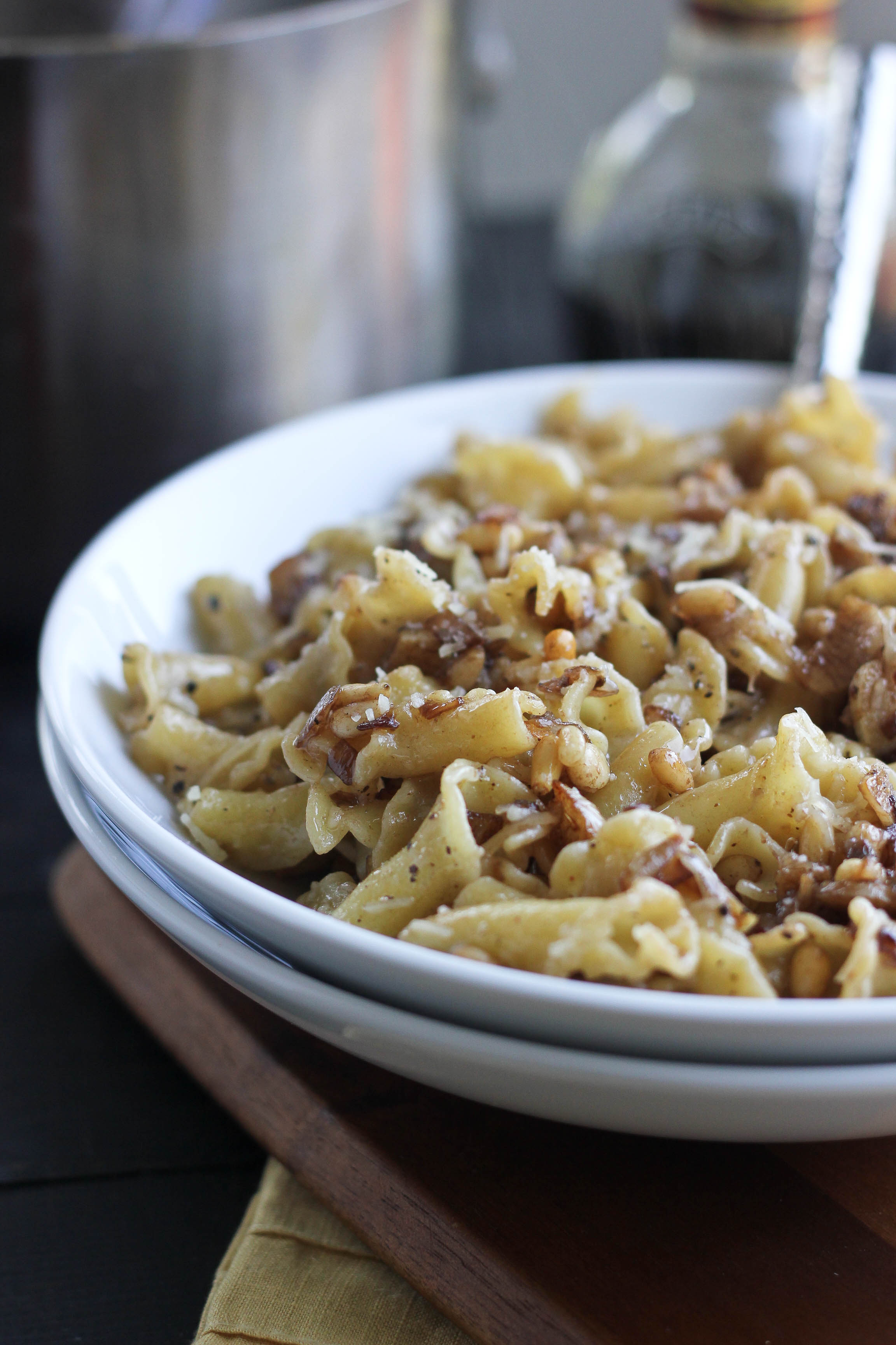 Balsamic Pasta with Garlic & Pine Nuts | Bake Your Day